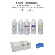 5 cartuchos recargables para Epson 7700 y 9700 700ml + 5 L Tinta UltraChrome K3 Inkmate + chip resetter